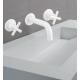 Bateria lavabo mural caño central  JALON Blanco Mate