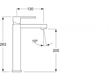 Monomando lavabo Caño alto modelo TIZZIANO  Blanco Mate