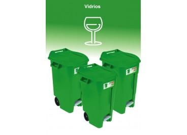 Kit estación de reciclaje 120L 3 contenedores con pedal