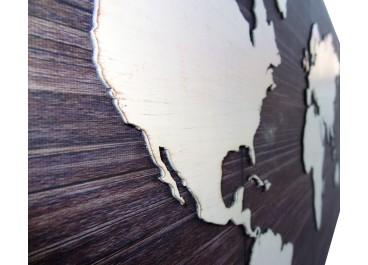 Lienzo con tallado MAPAMUNDI 110x60 fondo madera