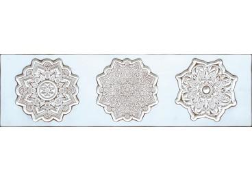 Cuadro tallado MANDALAS blanco120x35