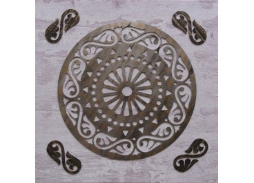 Cuadro tallado MANDALA 2 sobre lienzo 60x60