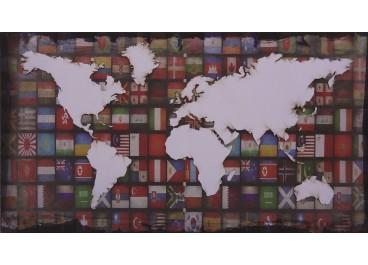 Lienzo con tallado MAPAMUNDI 110x60 fondo banderas