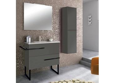 Mueble BORAX suspendido  2 Cajones + Lavabo + espejo SIDNEY