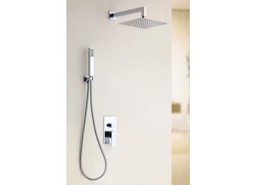Distribuidor monomando empotrable LEÓN Cromo / negro + Conjunto de ducha