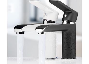 Grifo monomando de lavabo MISURI Cromo - Blanco / Cromo - Negro