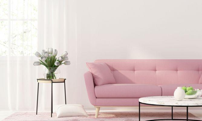 sala de estar con sofá en rosa.