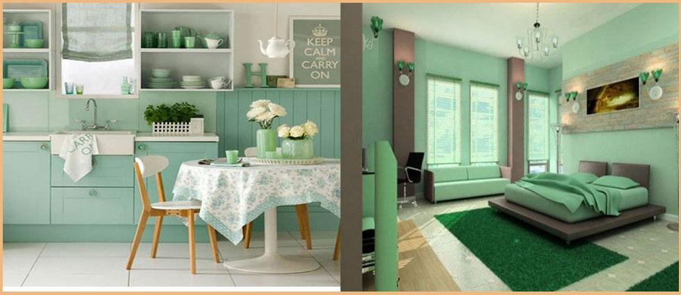 cocina y dormitorio decorado con verde menta